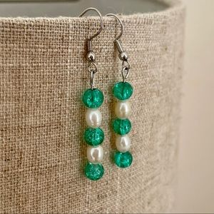 Freshwater Pearl And Glass Earrings